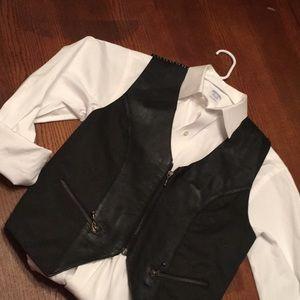 Adorable Black Leather zip up vest